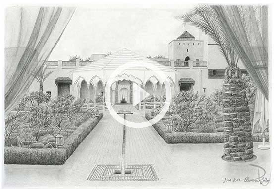Le Jardin Secret Marrakech, hand drawing pencil illustration of the kiosque
