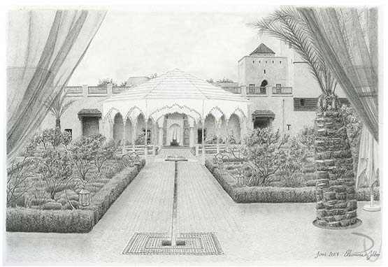 Le Jardin Secret Marrakech pencil rendering of the kiosque. Drawing by Eleonora Gobbo. Graphite on paper