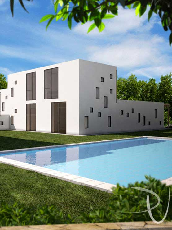 45x House, swimming pool view. Project and 3D visualization arch.Eleonora Gobbo