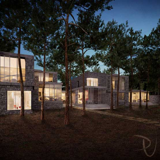 3D architectural visualization: House in the Wood. Exterior render at dusk