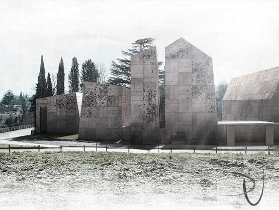 Artistic illustration of the north view of a museum project in Gorizia, Italy.