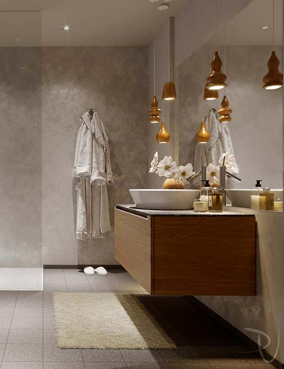 Bathroom. Interior architectural visualization. Cortina