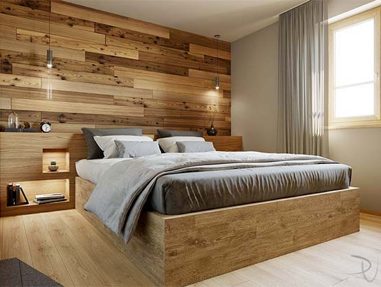 Bedroom. Interior architectural visualization. Cortina
