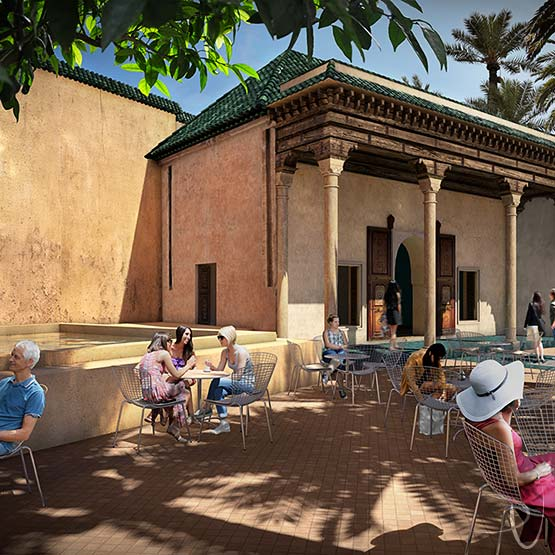 Le Jardin Secret Marrakech: Hbiqa Pavillion. 3D render architectural visualization